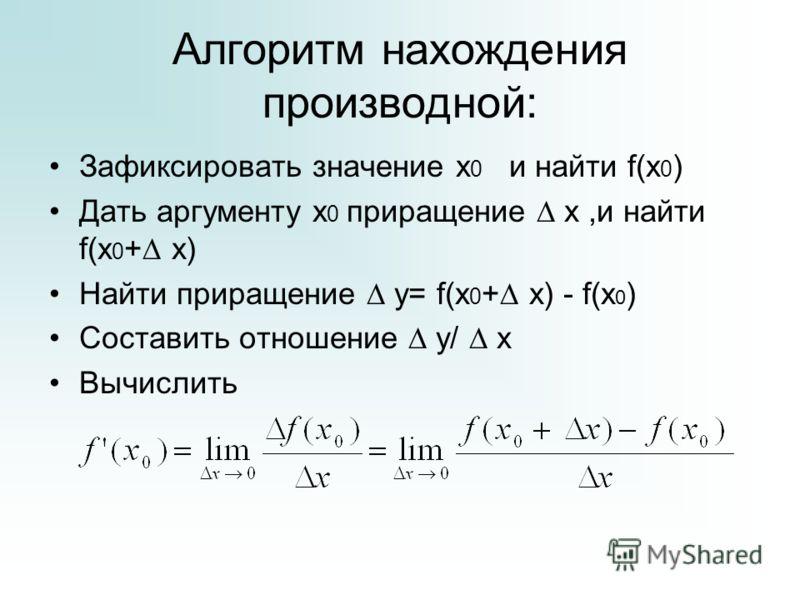 Алгоритм нахождения производной: Зафиксировать значение х 0 и найти f(x 0 ) Дать аргументу х 0 приращение х,и найти f(х 0 + х) Найти приращение у= f(х 0 + х) - f(х 0 ) Составить отношение у/ х Вычислить