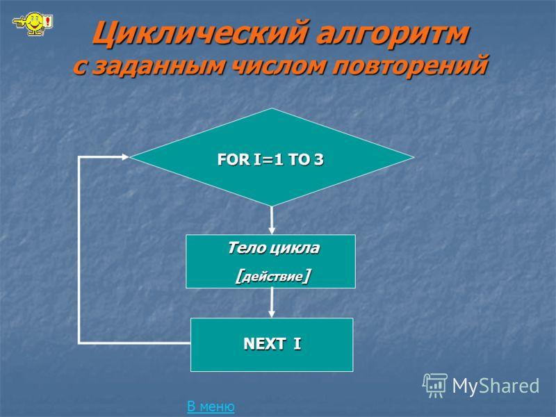 Циклический алгоритм с заданным числом повторений В меню FOR I=1 TO 3 Тело цикла [ действие ] NEXT I