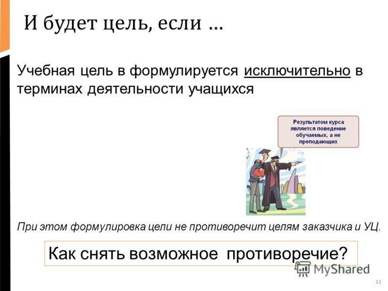 И будет цель, если … 33 Учебная цель в формулируется исключительно в терминах деятельности учащихся При этом формулировка цели не противоречит целям заказчика и УЦ. Как снять возможное противоречие?