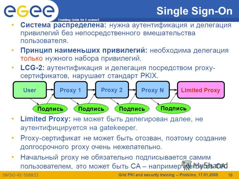 Enabling Grids for E-sciencE INFSO-RI-508833 Grid PKI and security training -- Protvino, 17.01.2005 10 Single Sign-On Система распределена: нужна аутентификация и делегация привилегий без непосредственного вмешательства пользователя. Принцип наименьш