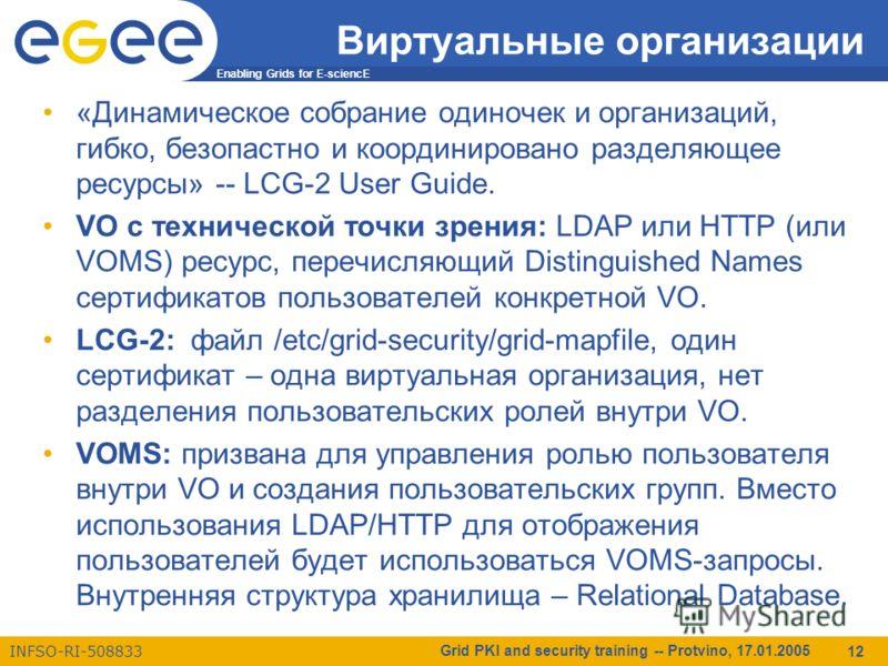 Enabling Grids for E-sciencE INFSO-RI-508833 Grid PKI and security training -- Protvino, 17.01.2005 12 Виртуальные организации «Динамическое собрание одиночек и организаций, гибко, безопастно и координировано разделяющее ресурсы» -- LCG-2 User Guide.