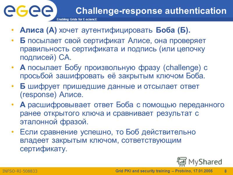Enabling Grids for E-sciencE INFSO-RI-508833 Grid PKI and security training -- Protvino, 17.01.2005 8 Challenge-response authentication Алиса (А) хочет аутентифицировать Боба (Б). Б посылает свой сертификат Алисе, она проверяет правильность сертифика
