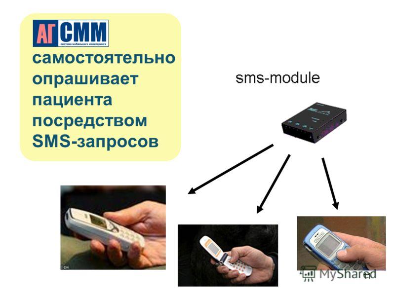 11 ММ АГ самостоятельно опрашивает пациента посредством SMS-запросов