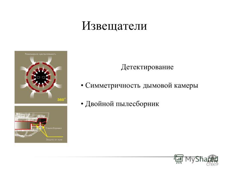 Извещатели Детектирование Симметричность дымовой камеры Двойной пылесборник