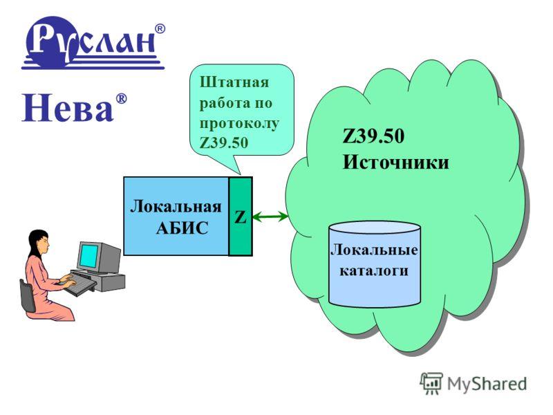 Локальная АБИС Z39.50 Источники Z39.50 Источники Локальные каталоги Нева ® Z Штатная работа по протоколу Z39.50