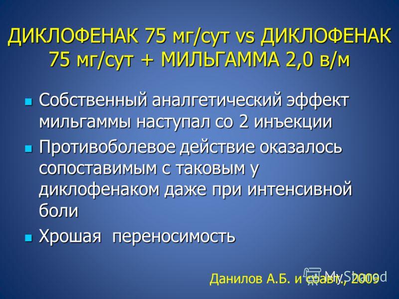 ДИКЛОФЕНАК 75 мг/сут vs ДИКЛОФЕНАК 75 мг/сут + МИЛЬГАММА 2,0 в/м Собственный аналгетический эффект мильгаммы наступал со 2 инъекции Собственный аналгетический эффект мильгаммы наступал со 2 инъекции Противоболевое действие оказалось сопоставимым с та