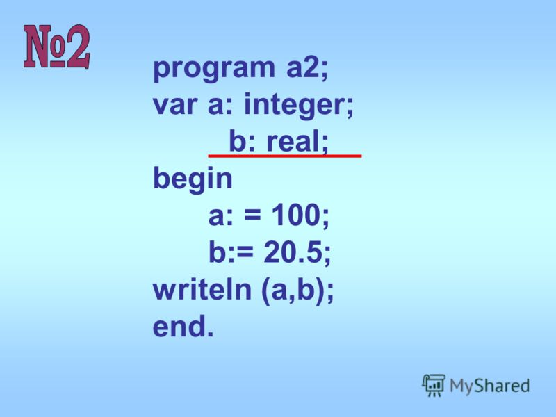 program a2; var a: integer; b: real; begin a: = 100; b:= 20.5; writeln (a,b); end.