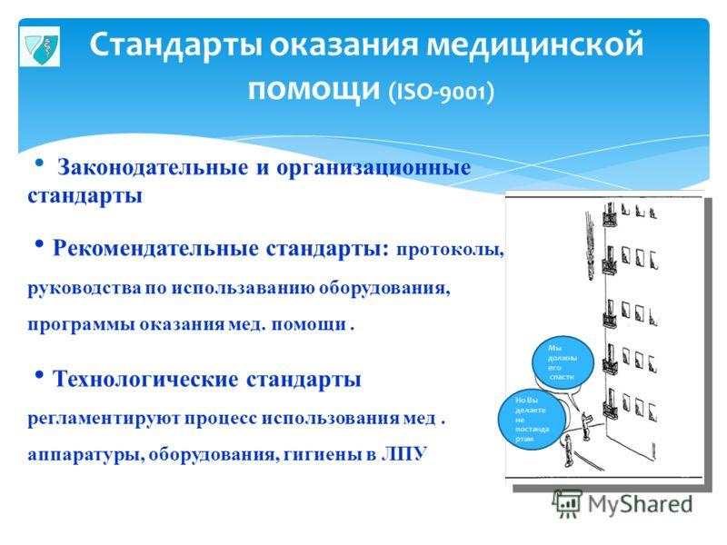 Стандарты оказания медицинской помощи (ISO-9001) 25 Законодательные и организационные стандарты Рекомендательные стандарты: протоколы, руководства по использаванию оборудования, программы оказания мед. помощи. Технологические стандарты регламентируют