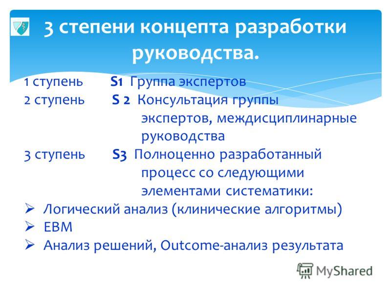 3 степени концепта разработки руководства. 5 1 ступень S1 Группа экспертов 2 ступень S 2 Консультация группы экспертов, междисциплинарные руководства 3 ступень S3 Полноценно разработанный процесс со следующими элементами систематики: Логический анали