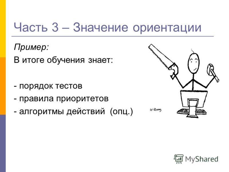 Пример: В итоге обучения знает: - порядок тестов - правила приоритетов - алгоритмы действий (опц.) Часть 3 – Значение ориентации