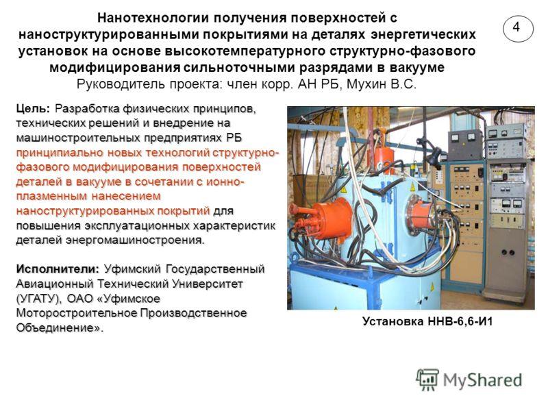 Нанотехнологии получения поверхностей с наноструктурированными покрытиями на деталях энергетических установок на основе высокотемпературного структурно-фазового модифицирования сильноточными разрядами в вакууме Руководитель проекта: член корр. АН РБ,