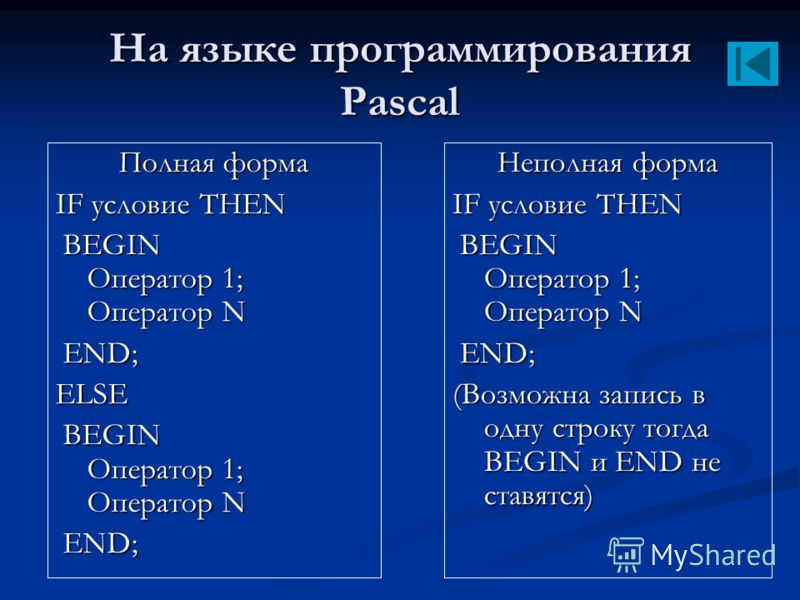 На языке программирования Pascal Полная форма IF условие THEN BEGIN Оператор 1; Оператор N BEGIN Оператор 1; Оператор N END; END;ELSE BEGIN Оператор 1; Оператор N BEGIN Оператор 1; Оператор N END; END; Неполная форма IF условие THEN BEGIN Оператор 1;
