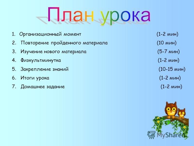 1.Организационный момент (1-2 мин) 2. Повторение пройденного материала (10 мин) 3. Изучение нового материала (5-7 мин) 4. Физкультминутка (1-2 мин) 5. Закрепление знаний (10-15 мин) 6. Итоги урока (1-2 мин) 7. Домашнее задание (1-2 мин)