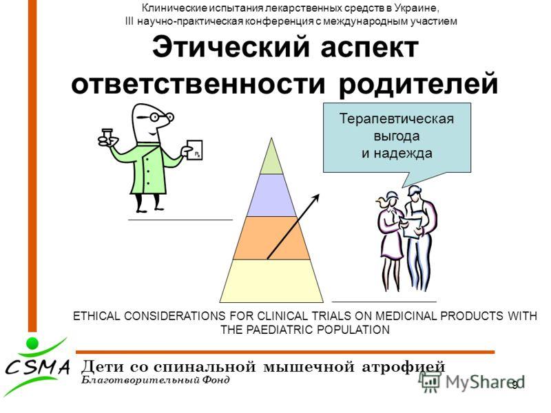 9 Этический аспект ответственности родителей Дети со спинальной мышечной атрофией Благотворительный Фонд Клинические испытания лекарственных средств в Украине, III научно-практическая конференция с международным участием ETHICAL CONSIDERATIONS FOR CL