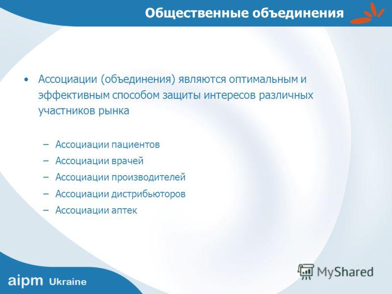 aipm Ukraine Общественные объединения Ассоциации (объединения) являются оптимальным и эффективным способом защиты интересов различных участников рынка –Ассоциации пациентов –Ассоциации врачей –Ассоциации производителей –Ассоциации дистрибьюторов –Асс