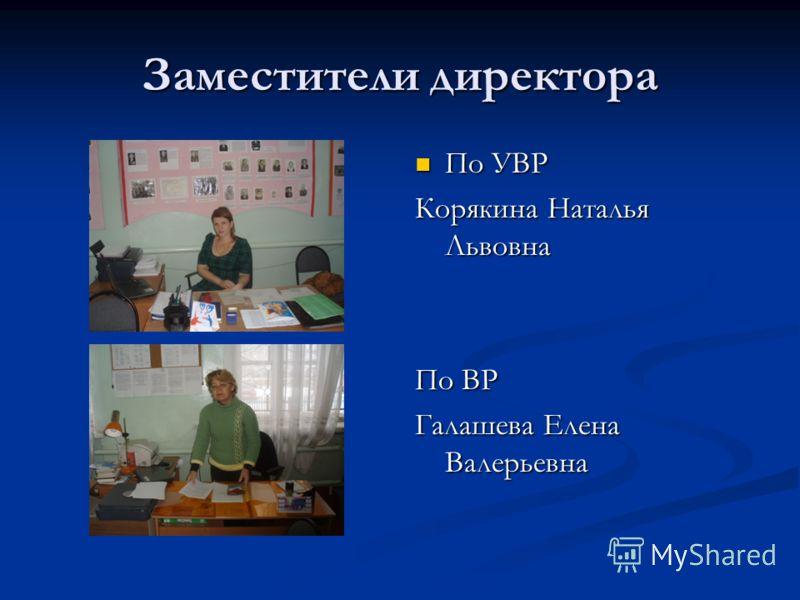 Заместители директора По УВР Корякина Наталья Львовна По ВР Галашева Елена Валерьевна