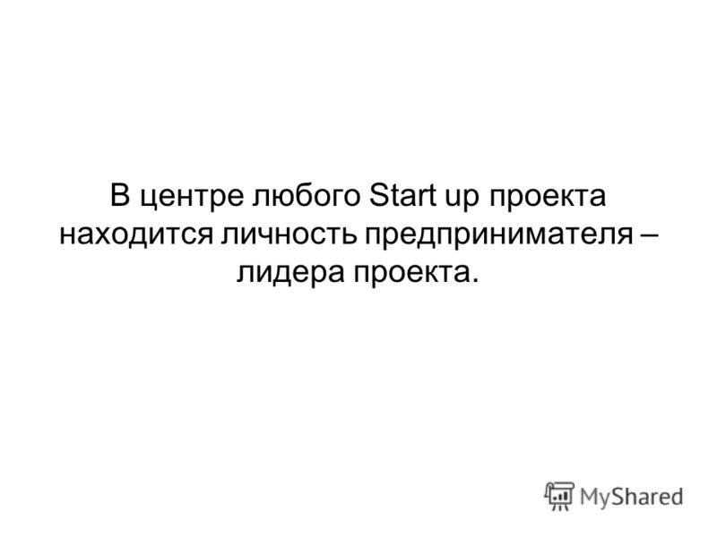 В центре любого Start up проекта находится личность предпринимателя – лидера проекта.