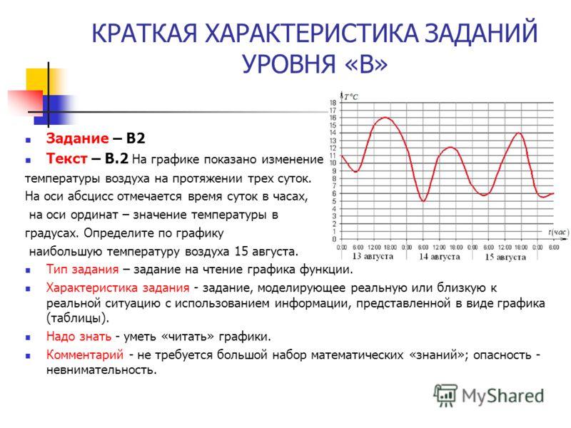 КРАТКАЯ ХАРАКТЕРИСТИКА ЗАДАНИЙ УРОВНЯ «В» Задание – В2 Текст – В.2 На графике показано изменение температуры воздуха на протяжении трех суток. На оси абсцисс отмечается время суток в часах, на оси ординат – значение температуры в градусах. Определите