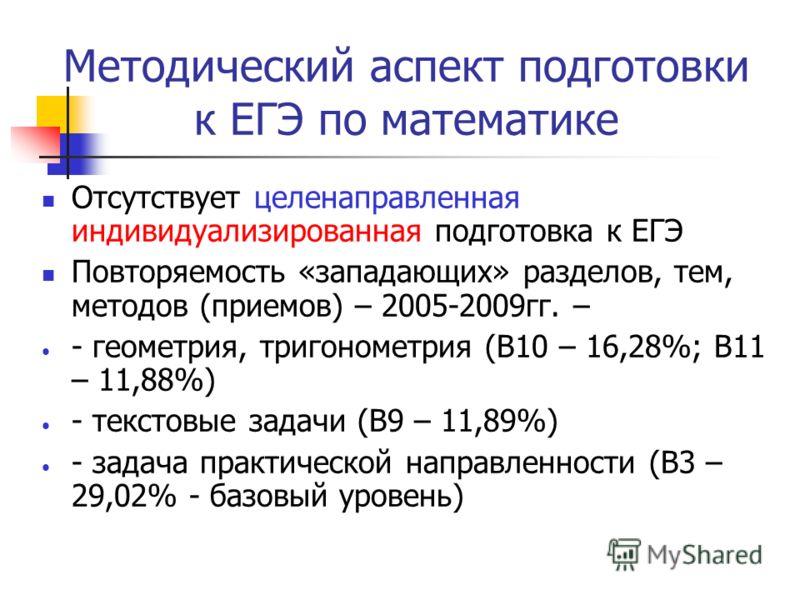 Методический аспект подготовки к ЕГЭ по математике Отсутствует целенаправленная индивидуализированная подготовка к ЕГЭ Повторяемость «западающих» разделов, тем, методов (приемов) – 2005-2009гг. – - геометрия, тригонометрия (В10 – 16,28%; В11 – 11,88%