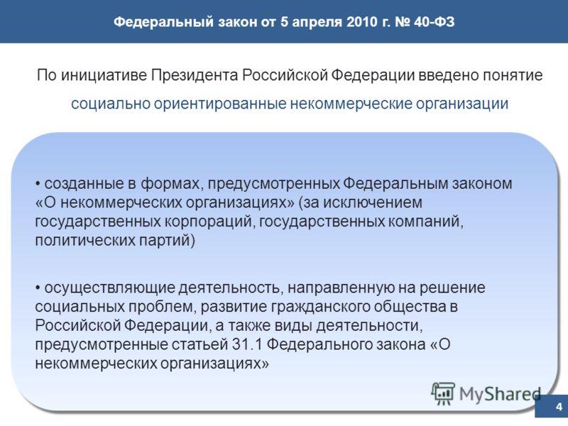 Федеральный закон от 5 апреля 2010 г. 40-ФЗ По инициативе Президента Российской Федерации введено понятие социально ориентированные некоммерческие организации созданные в формах, предусмотренных Федеральным законом «О некоммерческих организациях» (за