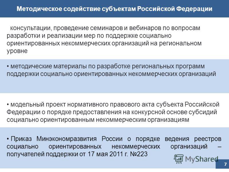 Методическое содействие субъектам Российской Федерации консультации, проведение семинаров и вебинаров по вопросам разработки и реализации мер по поддержке социально ориентированных некоммерческих организаций на региональном уровне методические матери