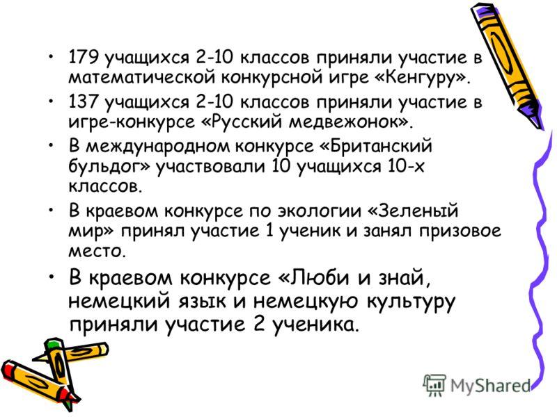 179 учащихся 2-10 классов приняли участие в математической конкурсной игре «Кенгуру». 137 учащихся 2-10 классов приняли участие в игре-конкурсе «Русский медвежонок». В международном конкурсе «Британский бульдог» участвовали 10 учащихся 10-х классов.