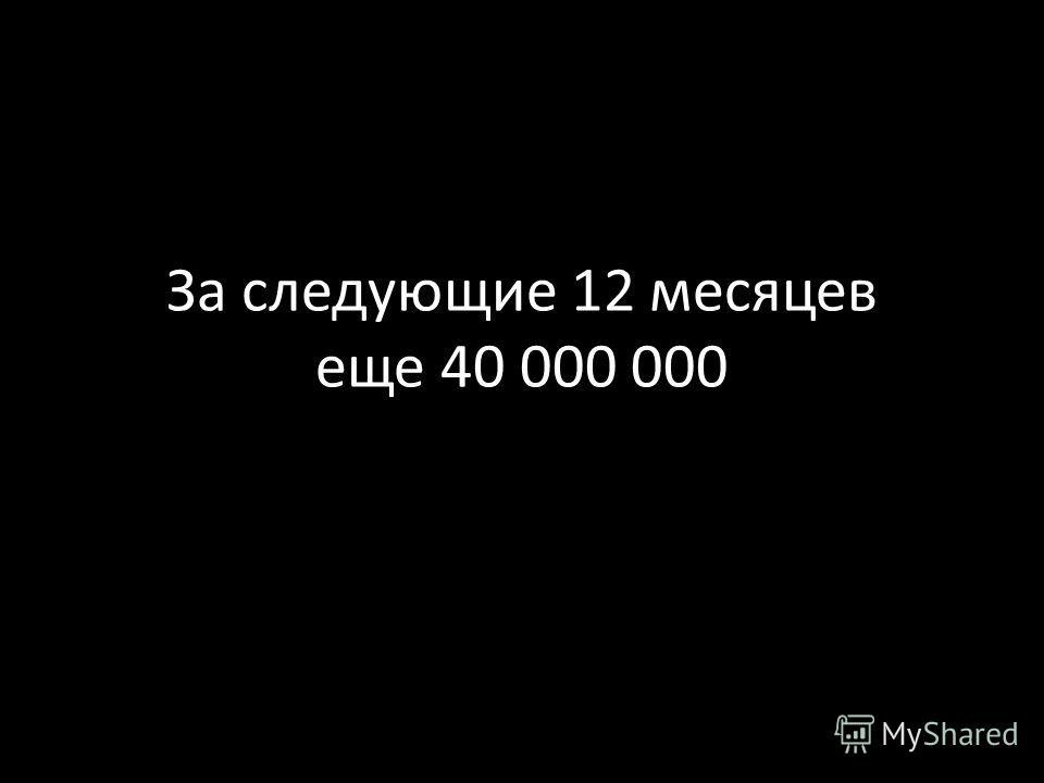 За следующие 12 месяцев еще 40 000 000
