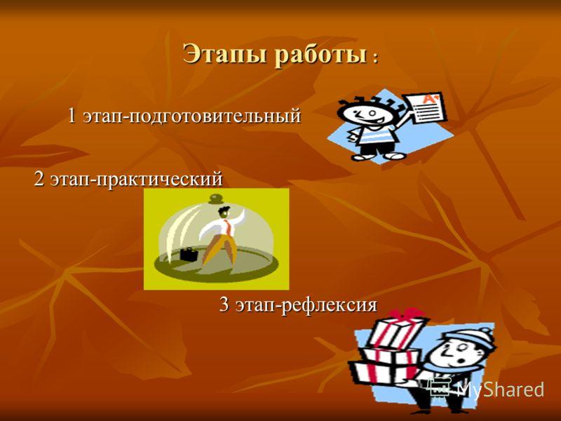 Этапы работы : 1 этап-подготовительный 2 этап-практический 3 этап-рефлексия