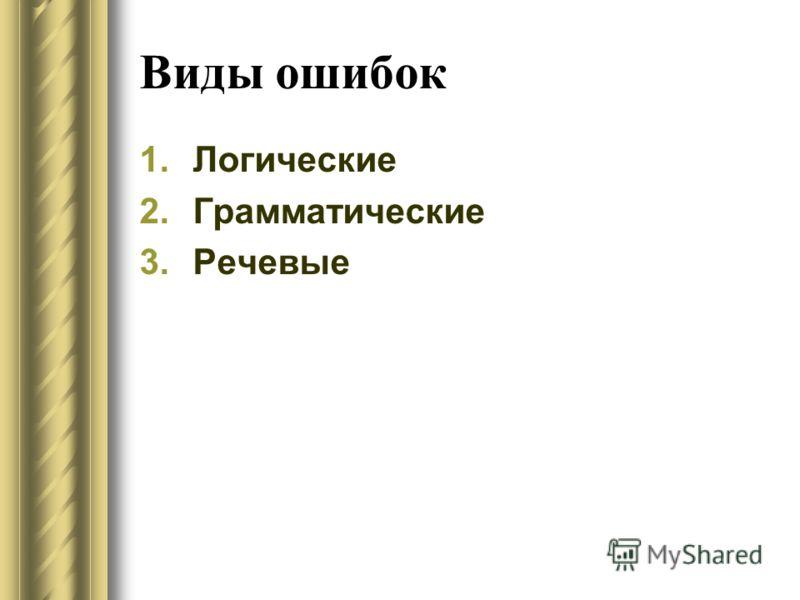Виды ошибок 1.Логические 2.Грамматические 3.Речевые