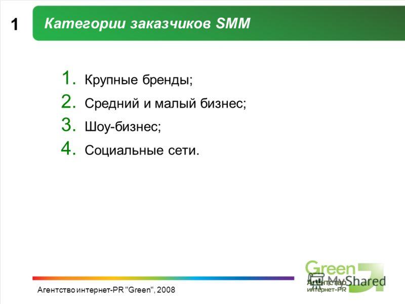 Агентство интернет-PR Green, 2008 Категории заказчиков SMM 1 1. Крупные бренды; 2. Средний и малый бизнес; 3. Шоу-бизнес; 4. Социальные сети.