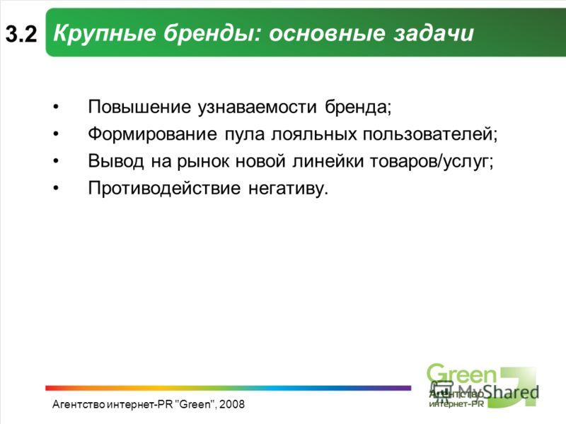 Агентство интернет-PR Green, 2008 Крупные бренды: основные задачи Повышение узнаваемости бренда; Формирование пула лояльных пользователей; Вывод на рынок новой линейки товаров/услуг; Противодействие негативу. 3.2