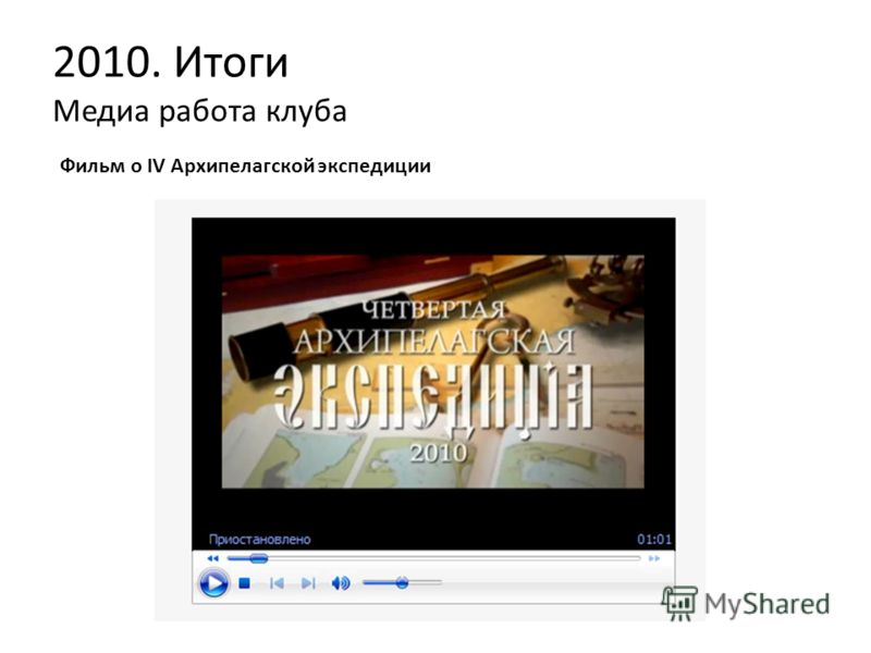 2010. Итоги Медиа работа клуба Фильм о IV Архипелагской экспедиции