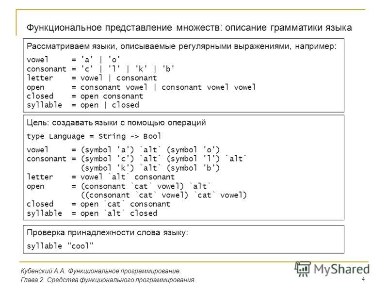 4 Кубенский А.А. Функциональное программирование. Глава 2. Средства функционального программирования. Функциональное представление множеств: описание грамматики языка Рассматриваем языки, описываемые регулярными выражениями, например: vowel = 'a' | '