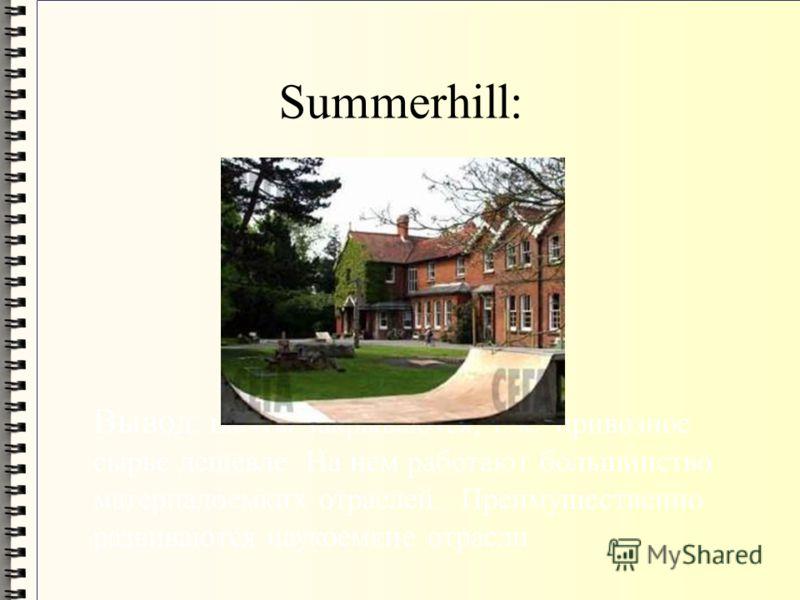 Summerhill: Вывод: шахты закрываются, т. к. привозное сырье дешевле. На нем работают большинство материалоемких отраслей. Преимущественно развиваются наукоемкие отрасли