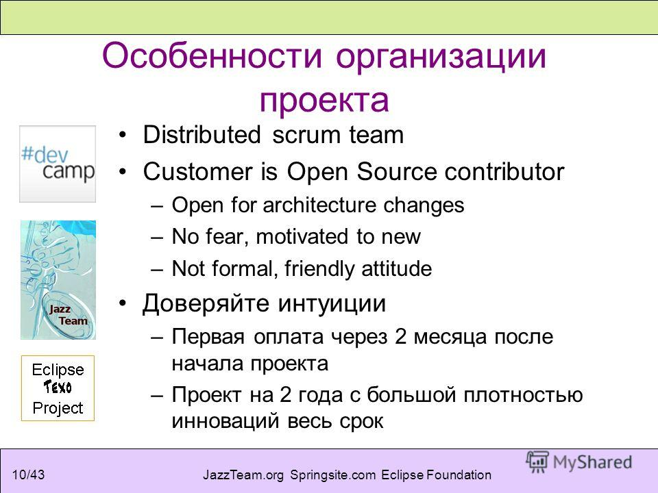 JazzTeam.org Springsite.com Eclipse Foundation10/43 Особенности организации проекта Distributed scrum team Customer is Open Source contributor –Open for architecture changes –No fear, motivated to new –Not formal, friendly attitude Доверяйте интуиции