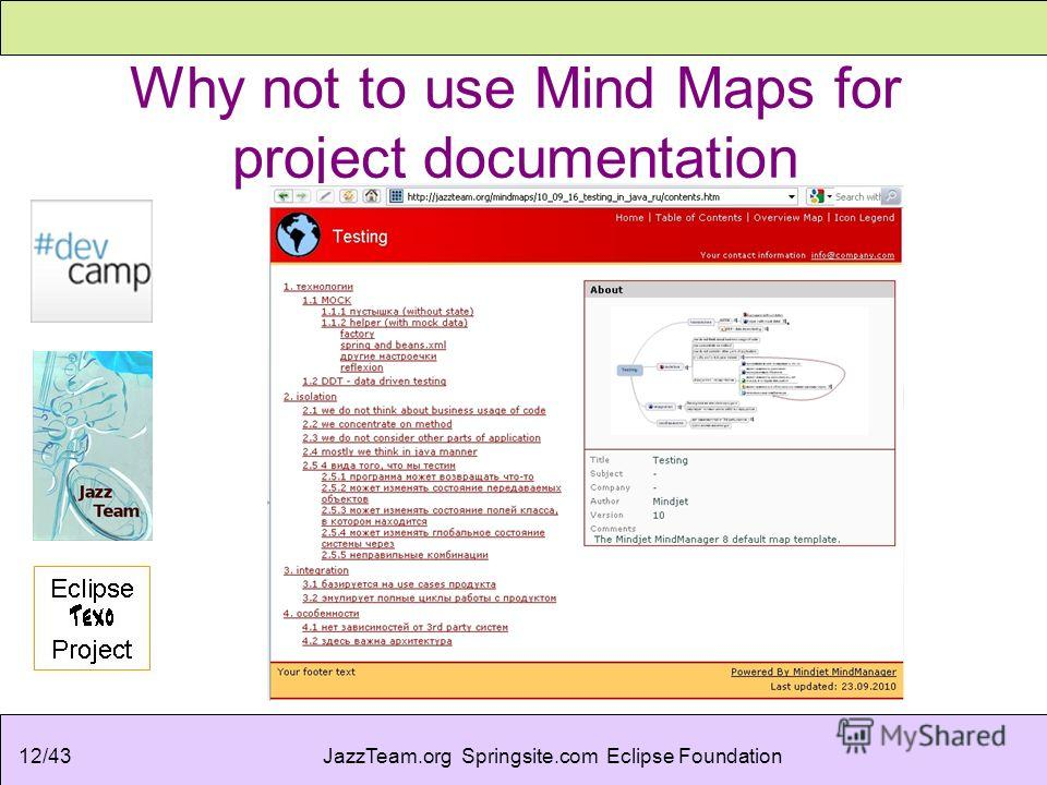 JazzTeam.org Springsite.com Eclipse Foundation12/43 Why not to use Mind Maps for project documentation