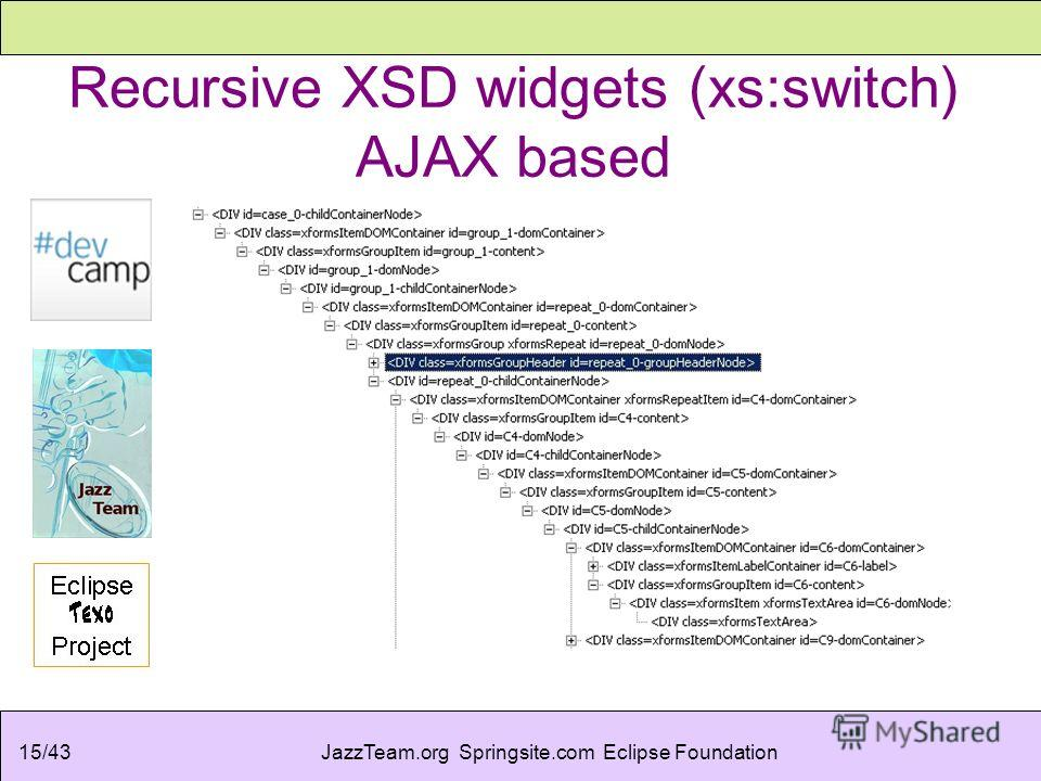 JazzTeam.org Springsite.com Eclipse Foundation15/43 Recursive XSD widgets (xs:switch) AJAX based
