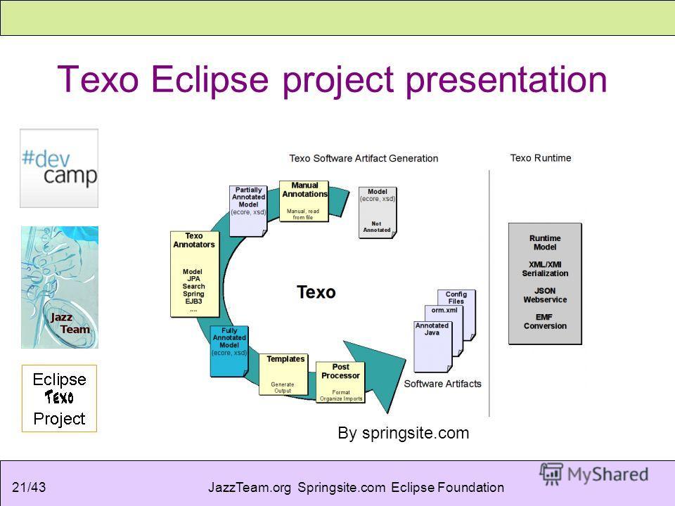 JazzTeam.org Springsite.com Eclipse Foundation21/43 Texo Eclipse project presentation By springsite.com