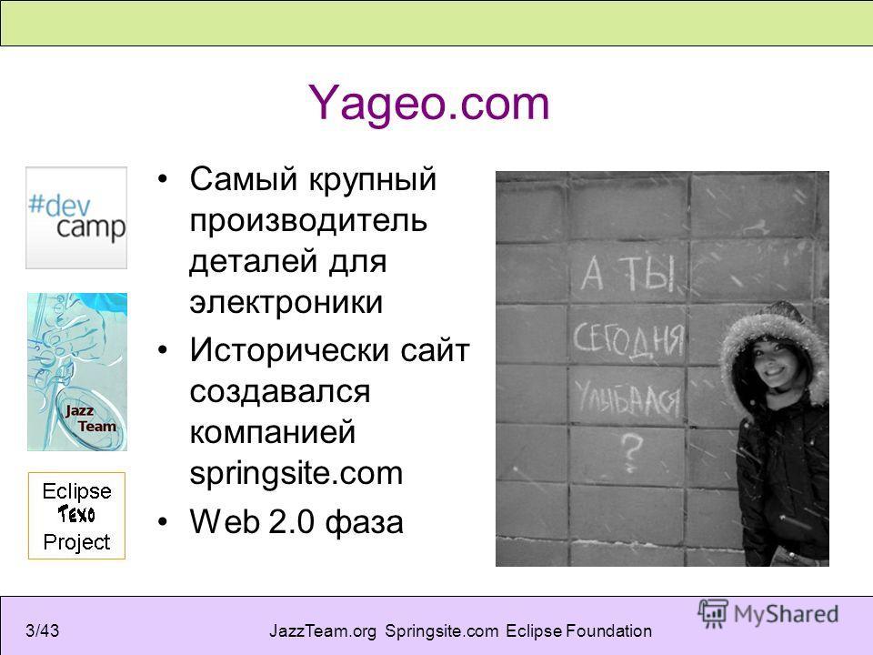 JazzTeam.org Springsite.com Eclipse Foundation3/43 Yageo.com Самый крупный производитель деталей для электроники Исторически сайт создавался компанией springsite.com Web 2.0 фаза