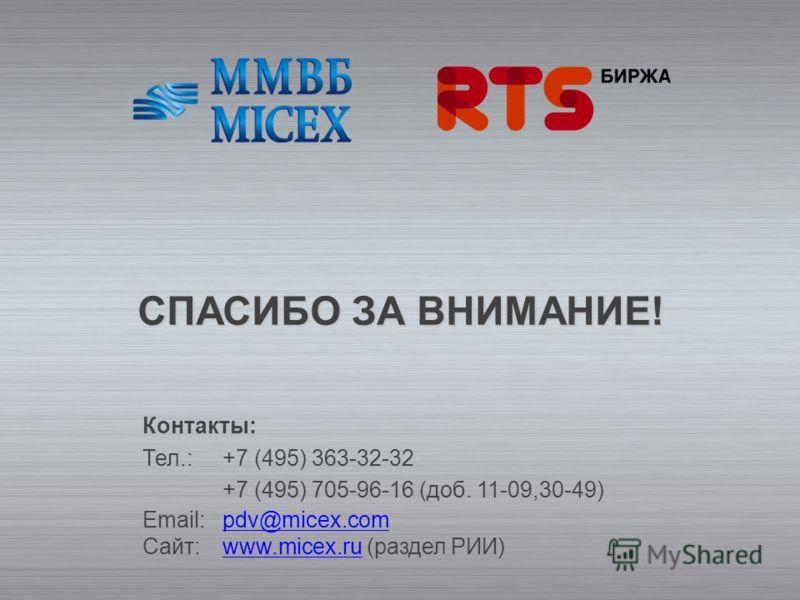 СПАСИБО ЗА ВНИМАНИЕ! Контакты: Тел.:+7 (495) 363-32-32 +7 (495) 705-96-16 (доб. 11-09,30-49) Email:pdv@micex.com Сайт: www.micex.ru (раздел РИИ)pdv@micex.comwww.micex.ru