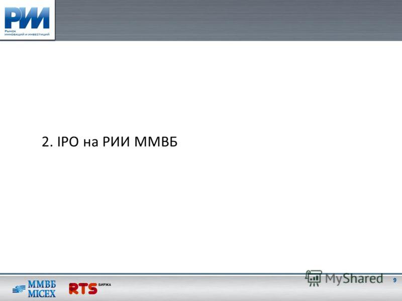 2. IPO на РИИ ММВБ 9