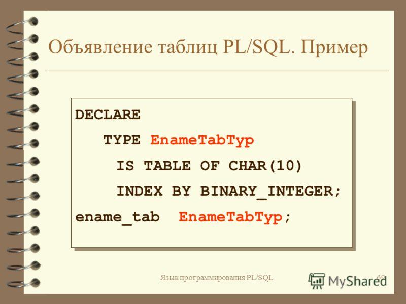 Язык программирования PL/SQL68 Объявление таблиц PL/SQL 4 Таблицы PL/SQL объявляются за два шага : - -- Объявить тип -- Таблица PL/SQL: TYPE имя_типа IS TABLE OF {тип_столбца|переменная%TYPE| таблица.столбец%TYPE } [NOT NULL] INDEX BY BINARY_INTEGER;