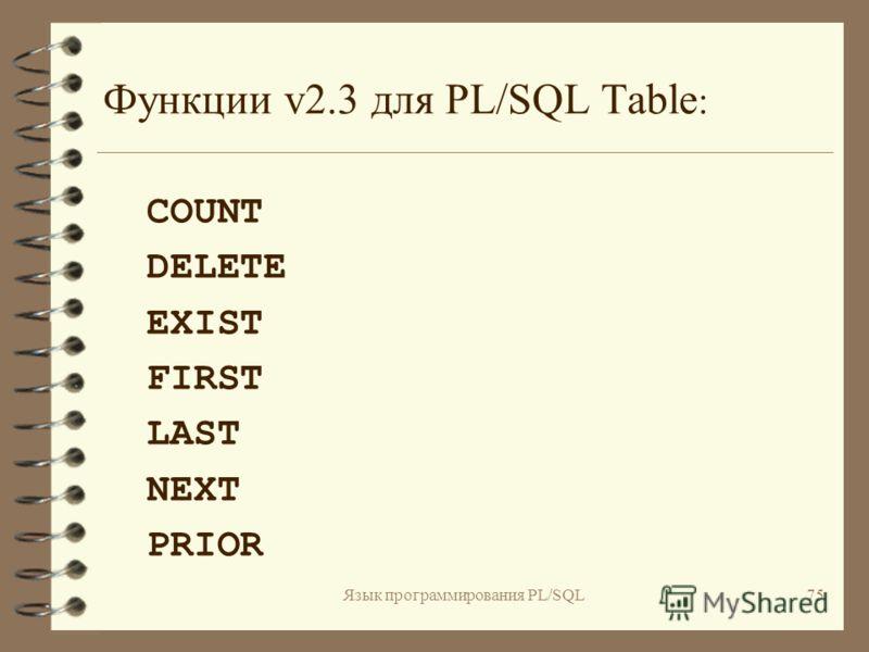 Язык программирования PL/SQL74 Усовершенствования PL/SQL Table для версии 2.3 4 В качестве типа столбца таблицы PL/SQL теперь допускается использование составного типа RECORD 4 Специально для работы с PL/SQL - таблицами в версию 2.3 включены новые фу