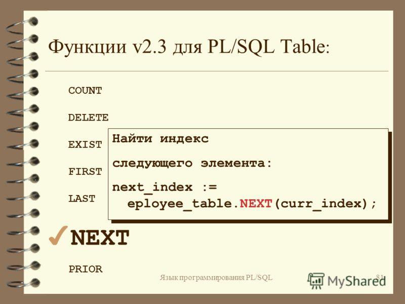 Язык программирования PL/SQL80 Функции v2.3 для PL/SQL Table : COUNT DELETE EXIST FIRST 4LAST NEXT PRIOR Найти наибольшее значение индекса,для которого определен элемент таблицы : last_row := eployee_table.LAST; Найти наибольшее значение индекса,для