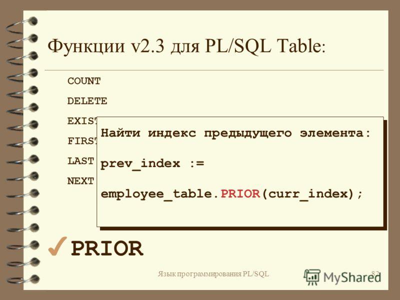 Язык программирования PL/SQL81 Функции v2.3 для PL/SQL Table : COUNT DELETE EXIST FIRST LAST 4NEXT PRIOR Найти индекс следующего элемента: next_index := eployee_table.NEXT(curr_index); Найти индекс следующего элемента: next_index := eployee_table.NEX