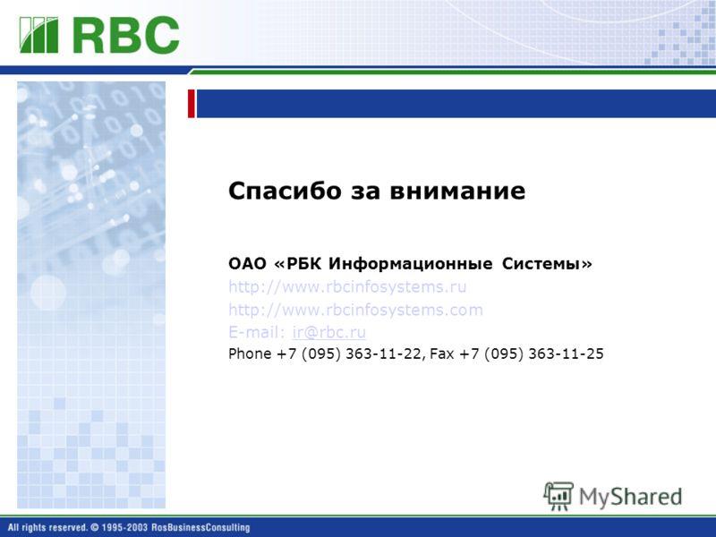 Спасибо за внимание ОАО «РБК Информационные Системы» http://www.rbcinfosystems.ru http://www.rbcinfosystems.com E-mail: ir@rbc.ruir@rbc.ru Phone +7 (095) 363-11-22, Fax +7 (095) 363-11-25