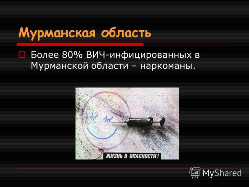 Мурманская область Более 80% ВИЧ-инфицированных в Мурманской области – наркоманы.