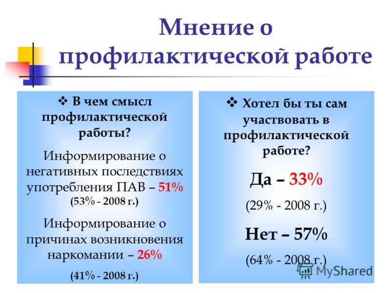 Мнение о профилактической работе В чем смысл профилактической работы? Информирование о негативных последствиях употребления ПАВ – 51% (53% - 2008 г.) Информирование о причинах возникновения наркомании – 26% (41% - 2008 г.) Хотел бы ты сам участвовать