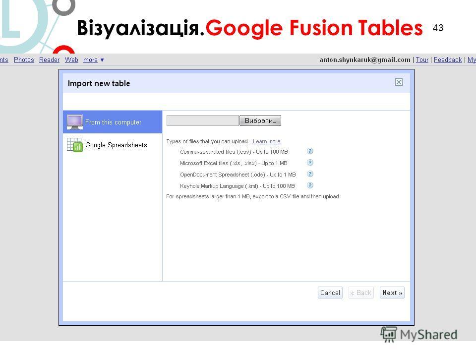 43 Візуалізація.Google Fusion Tables L