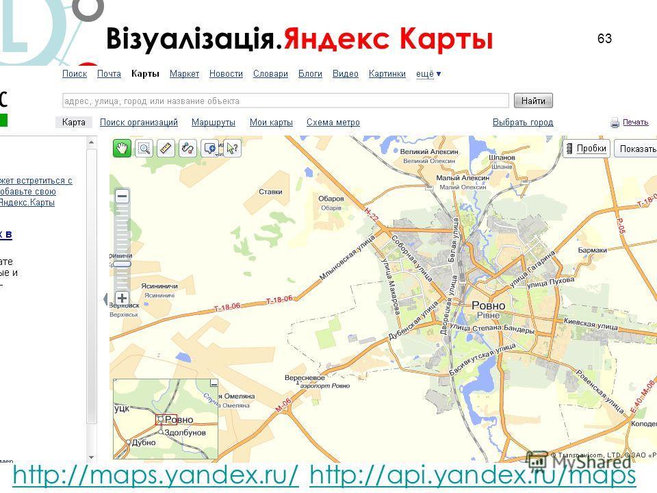 63 L http://maps.yandex.ru/http://maps.yandex.ru/ http://api.yandex.ru/mapshttp://api.yandex.ru/maps Візуалізація.Яндекс Карты